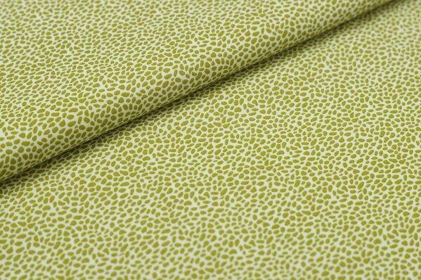 Baumwollstoff kleines Leoparden-Muster olivgrün auf weiß Baumwolle