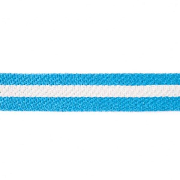 Breites Gurtband mit Streifen aqua blau / weiß 40 mm