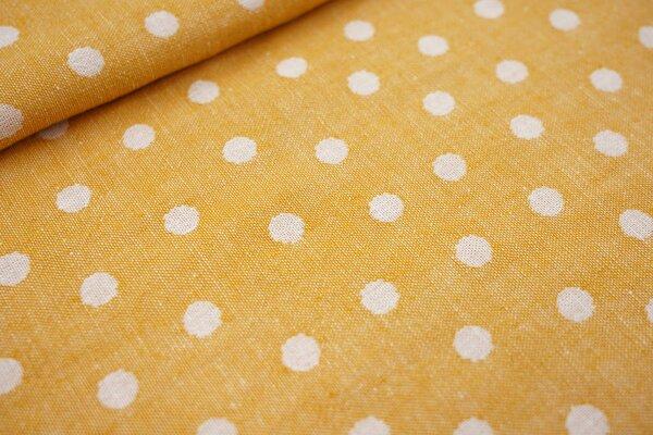 Baumwoll Jacquard doubleface Punkte orangegelb / weiß