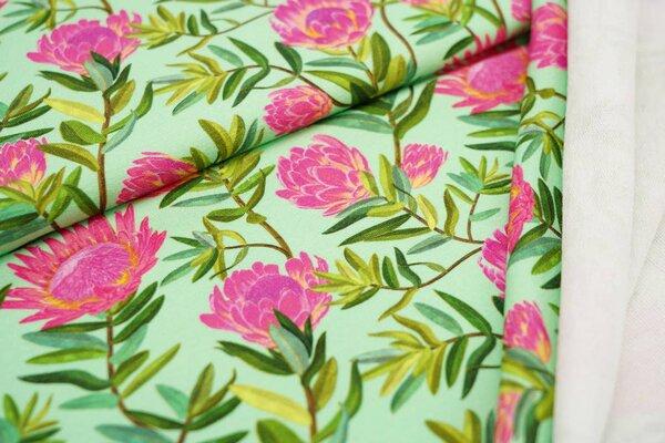 Baumwoll-Sweat Digitaldruck pinke Blumen auf hellgrün