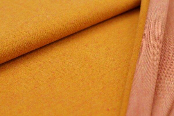 Kuschel Jacquard-Sweat Max Uni senf mit amarant pink