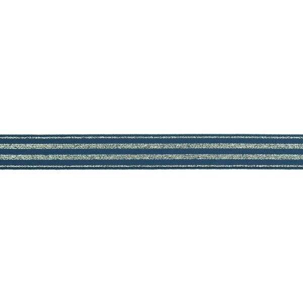 Schmales Gummiband mit 4 silbernen Glitzer Streifen auf jeansblau 20 mm