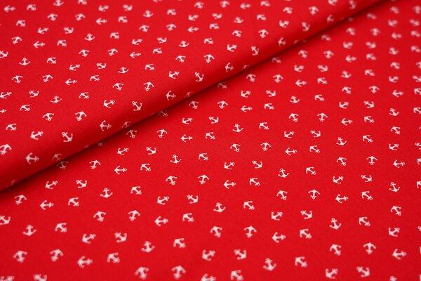Baumwolle weiße wilde kleine Anker auf rot