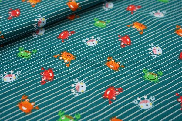 Baumwoll-Jersey bunte Krabben Krebse auf schmalen Streifen waldgrün / weiß