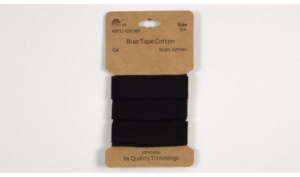 3 m Schrägband Baumwolle uni schwarz 20 mm breit
