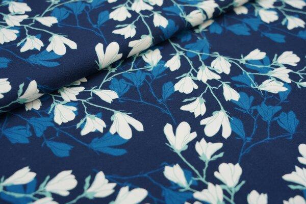 Baumwoll-Jersey Zweige mit Blüten Blumen dunkelblau / petrolblau / weiß