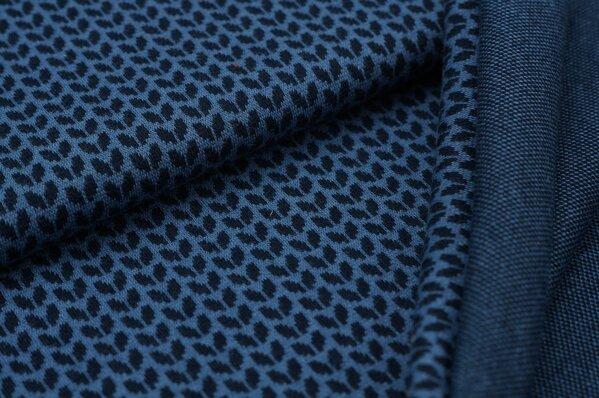 Jacquard-Sweat Ben kleine navy blaue Blätter auf taupeblau