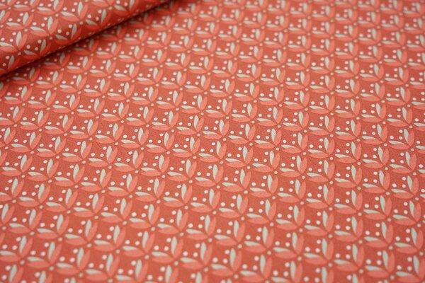 Baumwolle Blätter und Punkte rotbraun / lachsorange / mint / weiß