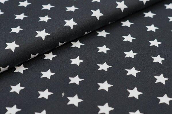 Baumwollstoff Baumwolle große Sterne schwarz / weiß