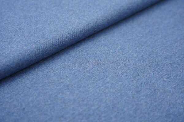 Bündchen Melange glatt jeansblau meliert