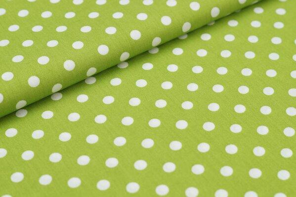 Baumwollstoff Baumwolle große Punkte grün / weiß