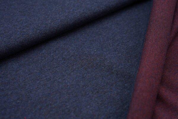 Jacquard-Sweat Mia navy blau Melange Uni mit rostorange Rückseite