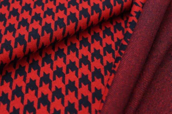 Jacquard-Sweat Ben mit Hahnentritt Muster navy blau und rot
