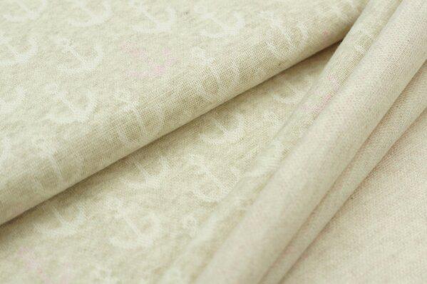 Jacquard-Sweat Mia off white und pastell rosa Anker auf pastell beige Melange