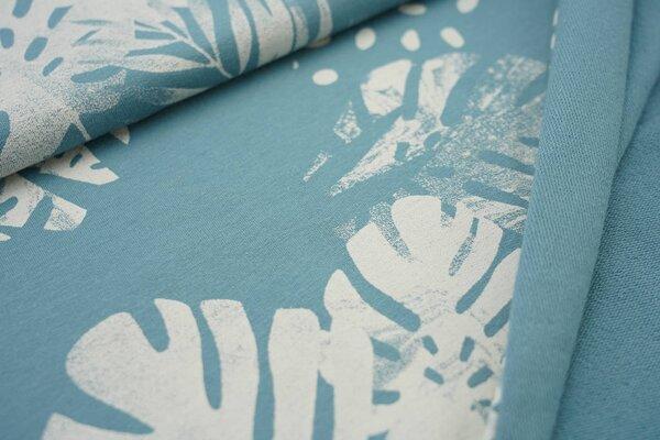 Baumwoll-Sweat Digitaldruck Farne Blätter Punkte eisblau / creme