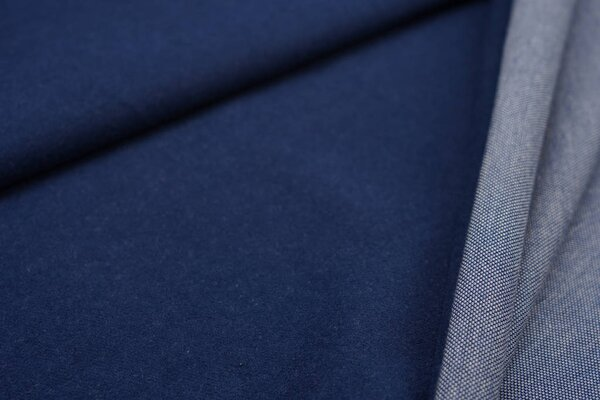 Kuschel Jacquard-Sweat Max Uni navy blau mit taupe blau und off white