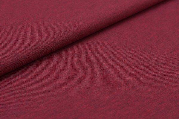 Baumwoll-Jersey uni himbeere mit grau meliert