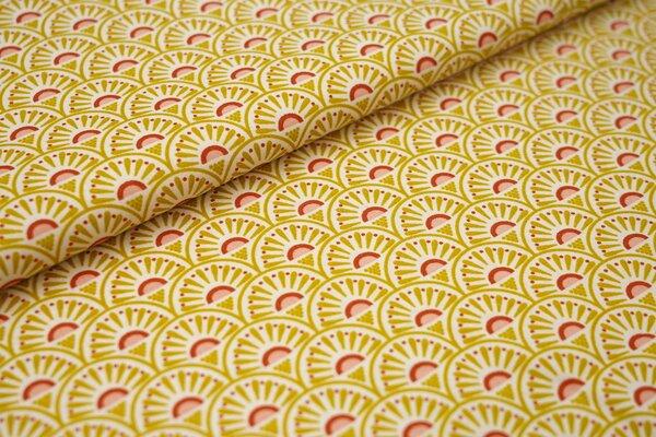 Baumwolle Blumenfächer Muster weiß / senf / rostorange / lachs