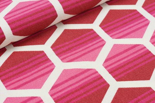 Dekostoff Canvas große Waben rosa / pink / rot auf creme