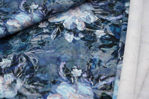Baumwoll-Sweat Digitaldruck große Blumen Blüten dunkelgrau / blau