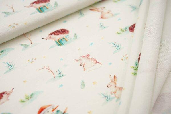 Baumwoll-Sweat Digitaldruck Hase Maus Igel Schneemann Weihnachten off white
