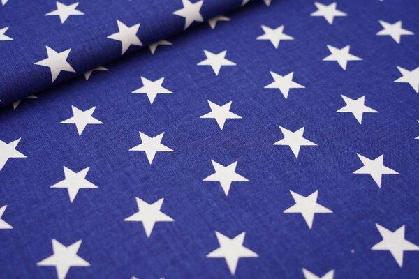 Baumwollstoff weiße Sterne auf jeansblau maritime Baumwolle