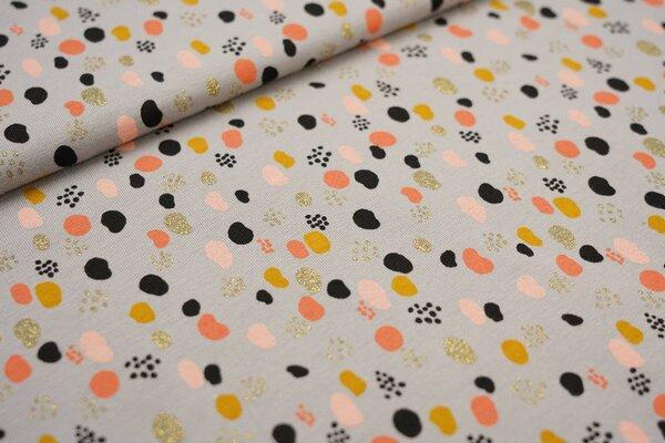 Baumwoll-Jersey bunte Punkte Tupfen mit Glitzer grau / koralle / schwarz / gold