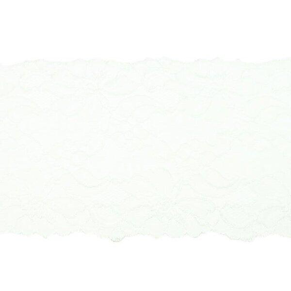 Elastische breite Spitze mit Blumen-Muster off white creme 155 mm Spitzenbordüre