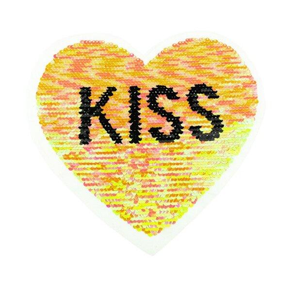 Applikation großes Herz mit KISS Schriftzug irisierend Wendepailletten Aufnäher