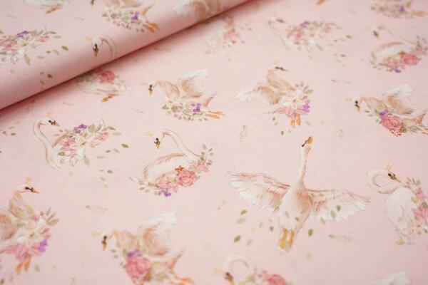 Baumwollstoff Schwan mit Krone und Rosen rosa Schwäne Federn Blätter