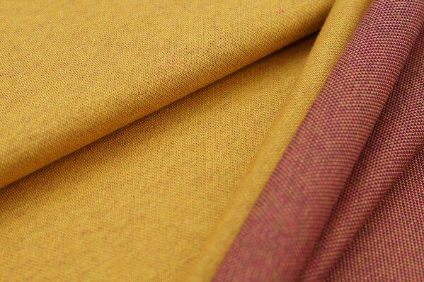 Jacquard-Sweat Ben senf Uni mit senf amarant pink und navy blauer Rückseite