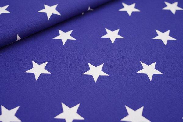 Baumwollstoff Baumwolle blau mit sehr großen weißen Sternen