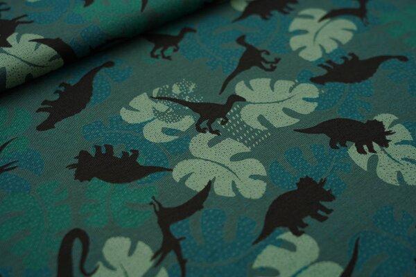 Baumwoll-Jersey Dinosaurier Silhouetten und Palmenblätter auf grün