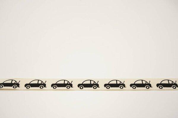 Webband schwarze Autos auf natur 15 mm Zierband Dekoband