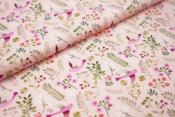 Baumwoll-Jersey Swafing Little Spring Vögel Zweige Blumen pink grün auf hellrosa
