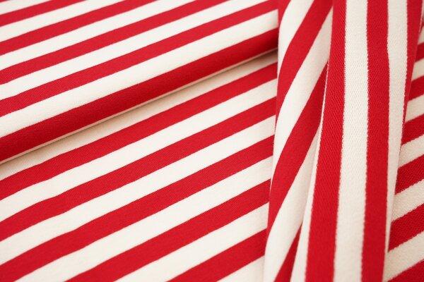 Traumbeere XXL Baumwoll-Sweat Marie Streifen Ringel mittel rot und off white