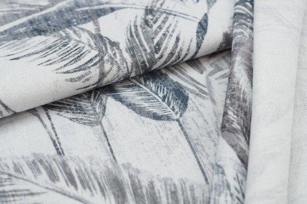 Dekostoff Canvas Digitaldruck Palmen Blätter weiß / grau / graubraun