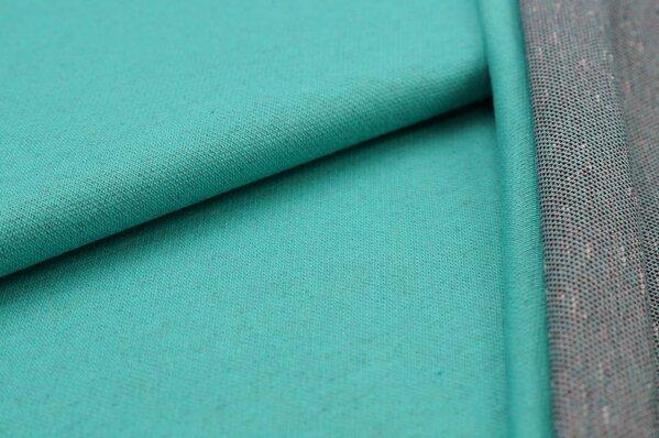 Jacquard-Sweat Ben mint seegrün Uni mit koralle off white schwarz Rückseite