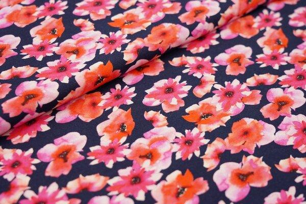Baumwoll-Jersey Aquarell Blumen in pink / rot / weiß auf dunkelblau