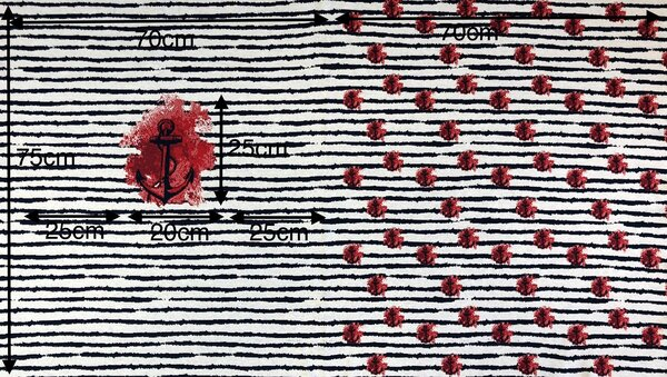 Panel Jacquard-Sweat Ben Anker / Streifen navy blau / rot / off white