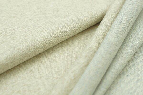 Jacquard-Sweat Mia uni pastell beige Melange / Rückseite jeansblau und off white