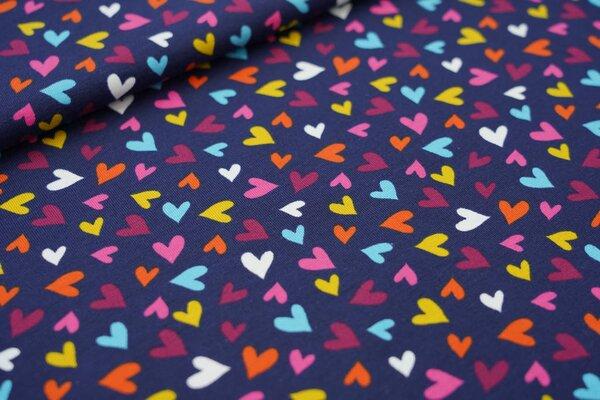 Baumwoll-Jersey bunte Herzen auf dunkelblau mit hell pink / senf / orange / blau