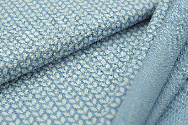 Jacquard-Sweat Mia kleine off white Blätter auf pastell jeansblau Melange