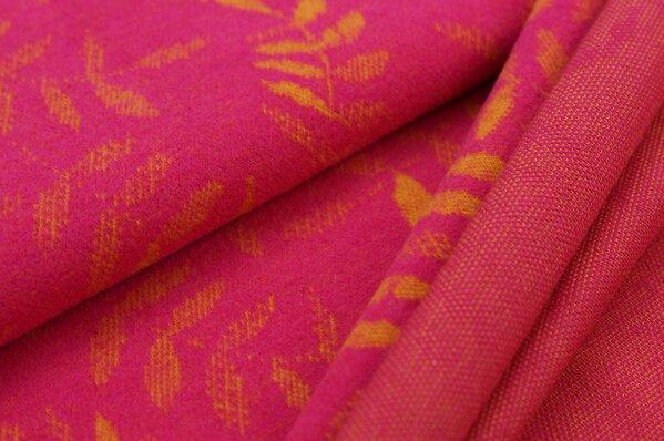 Kuschel Jacquard-Sweat Max senf Blätter auf amarant pink
