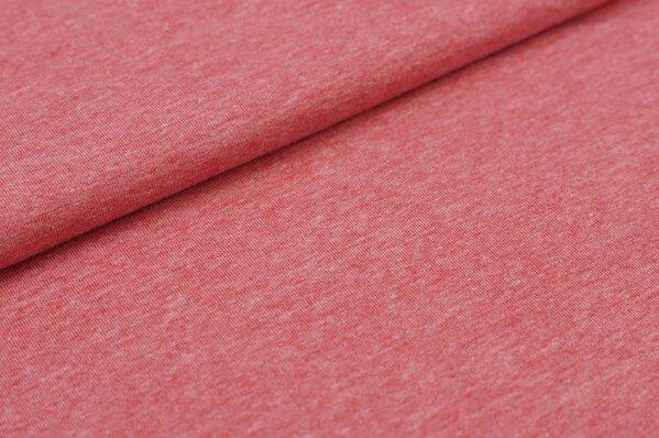 Baumwoll-Jersey uni rot pastell meliert