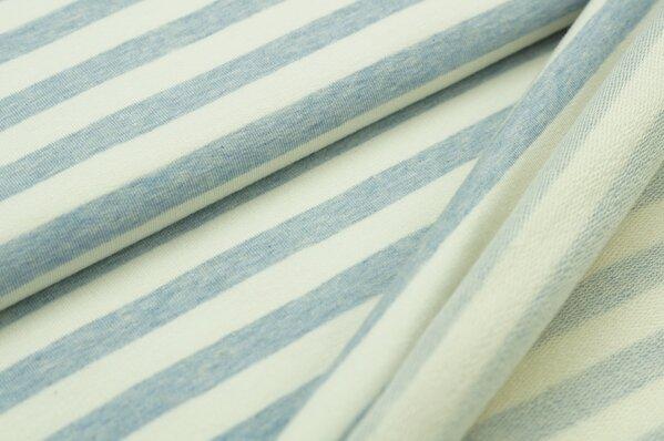 XXL Baumwollsweat Maya Melange Streifen breit pastell hellblau und off white