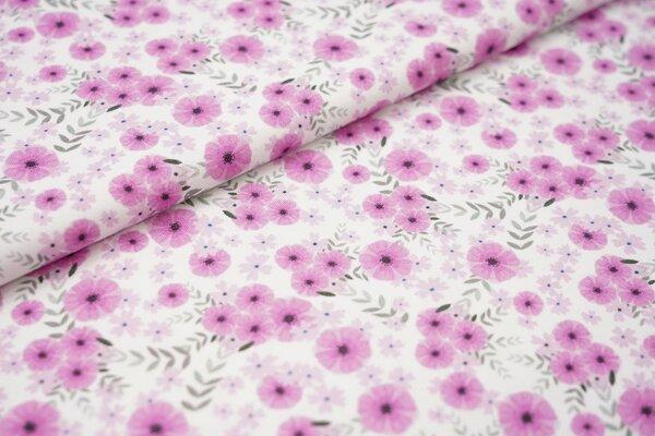 Digitaldruck Baumwoll-Jersey pinke Blumen auf weiß Blätter