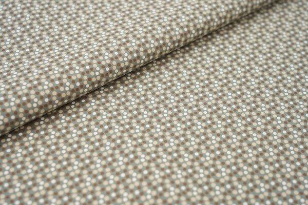 Baumwoll-Stoff mit Punkten altgrün / braun / sand beige / weiß