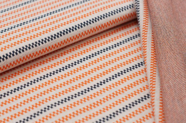 Jacquard-Sweat Ben Linien Muster Streifen off white / navy blau / orange