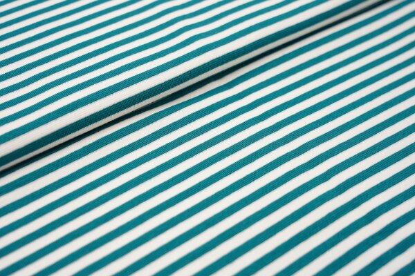 Ringelbündchen glatt Streifen weiss / petrol